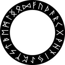 Vector Silhouette Elder Futhark Runic Circle, Celtic Alphabet Letters Wheel