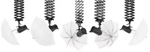 Photography Studio Flash On Ceiling Pantograph With Umbrella Isolated On White.