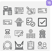 Simple Set Of Dams Related Lineal Icons.