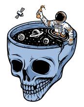 Astronauts In The Skull Pool Illustration
