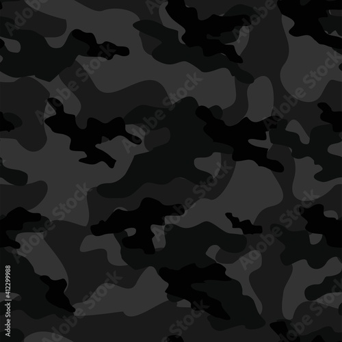 Billede på lærred black Military camo seamless pattern