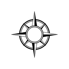 Flat Black Compass Frame Isolated On White. Compass Traveler Sign.