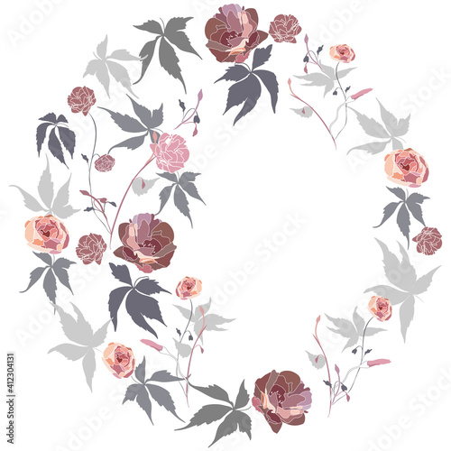 Photo Vector placement pattern with fancy mix of flowers and leaves, for a plate, a pillow, a wall clock