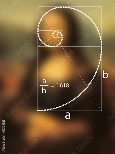 Tablou Canvas Golden Ratio in dotted line in Renaissance painting