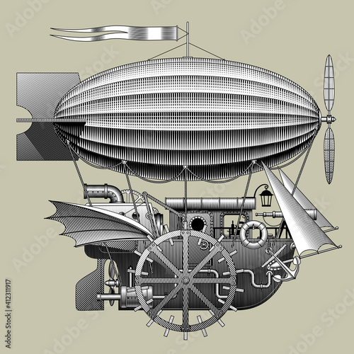 Stampa su Tela Engraved vintage drawing of a Steampunk complex fantastic flying ship