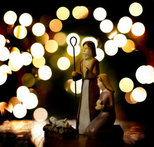 Nativity Scene With Baby Jesus Mary And Joseph With Lights