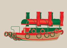 Vector Illustration Of Hong Kong Sampan Boat. It Is A Small Wooden Boat And Used To Be A Popular Form Of Water Transport In Old Hong Kong.