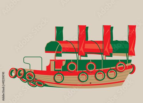 Vector illustration of Hong Kong sampan boat Fototapeta