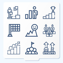 Simple Set Of 9 Icons Related To Professional Life