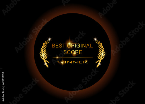 Gold vector best original score concept awards winner concept template with golden shiny text isolated or black background Fototapet