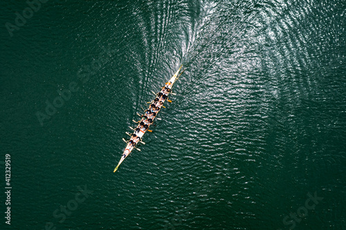 Canvas Print Top view of standard dragon boat on the lake