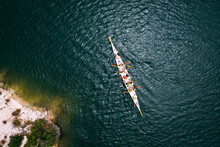 Top View Of Dragon Boat On The Lake