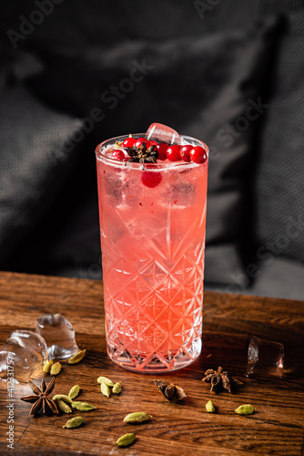 Fotografie, Obraz cocktail with anise and red currant