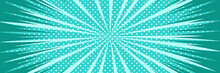 Vector Background In Comic Book Style With Stripes And Polka Dot Pattern. Retro Pop Art Design. Long Horizontal Banner.