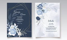 Elegant Wedding Invitation Card With Navy Blue  Floral And Leaves Template Premium Vector