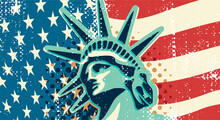 Statue Of Liberty Vintage Banner. New York Landmark And Symbol Of Freedom And Democracy.