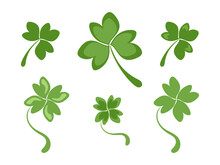 Set Of Three And Four Petal Clover Leaves. Simple Green Shamrock And Clover Leaves. Clipart Or Icon For St. Patrick's Day. Good Luck Symbol. Flat Stock Vector Illustration Isolated On White Background