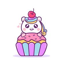Cute Happy Unicorn With Cupcake