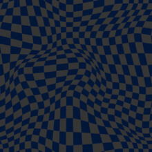 Distorted Checkerboard Patter. Vector Seamless Pattern