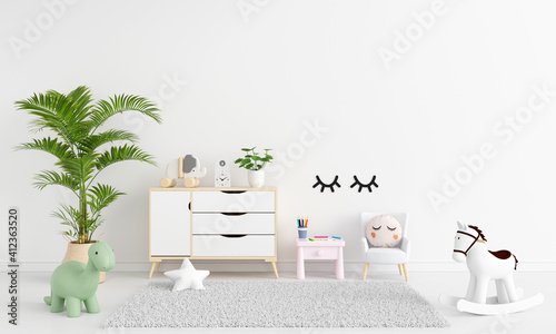 Fototapeta Table and armchair in white child room with free space for mockup, 3D rendering obraz