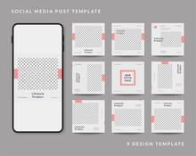 Social Media Post Template Fashion Sale Promotion, Feed Puzzle Template