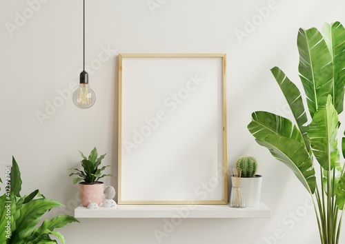 Foto Interior poster mock up with vertical empty wooden frame,Scandinavian style