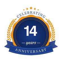 14 Anniversary Logotype Template Design For Banner, Poster, Card Vector Illustrator