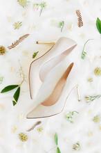 Delicate Pair Or Wedding High Heels