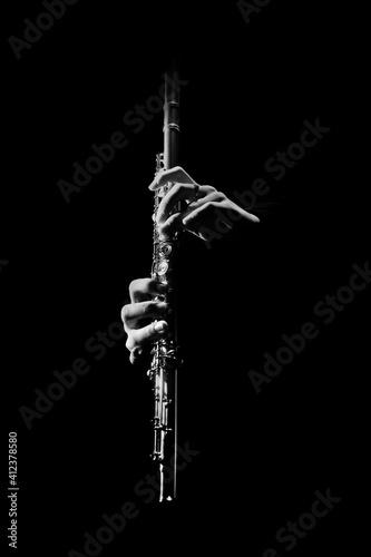 Flute instrument. Flutist hands playing flute music Fototapeta