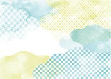 淡い和風背景素材 雲 黄色と水色 柄