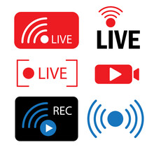 Website Icon Symbol. Notification Bell Icon. Abstract Live Stream Icons. Live Webinar Button. Stock Image. EPS 10.