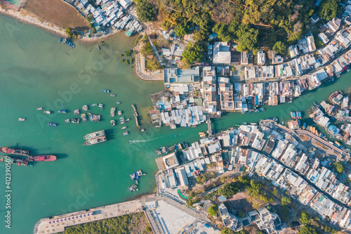 Amazing aerial view of the famous travel destination, Tai O, Lantau Island, Hong Kong, evening