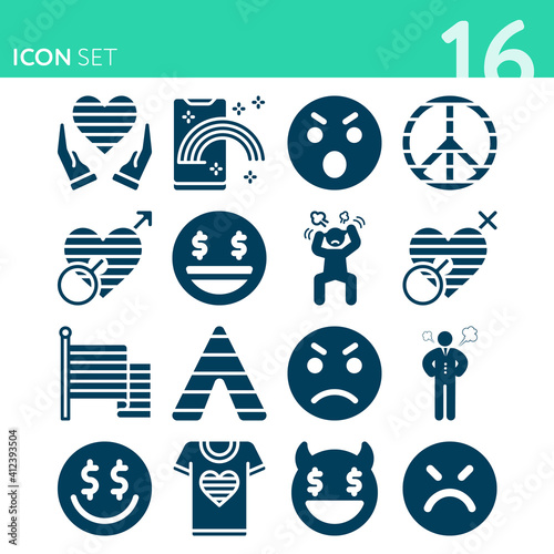 Foto Simple set of 16 icons related to deadly sin