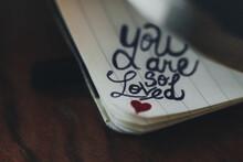 Handwritten Romantic Message On Valentine's Day.