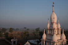 Indian Temple Architecture At Sunrise. West Bengal. India