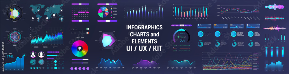 Fototapeta Colorful UI, UX, GUI interface elements collection. Dashboard User Interface elements. Graphics collection - charts, infographic, diagrams, graphic for UI, UX or Web and Mobile Phone App. Vector set