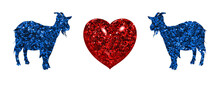 Goat Animal Blue Symbols With Red Heart Valentine Day Icon, 3d Illustration