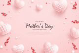 Mother's day background with white balloons and red ribbon.