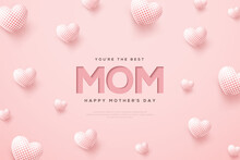 Mother's Day Background With Writing And 3d White Balloons.