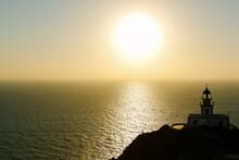 Akrotiri Lighthouse At Sunset, Santorini, Greece