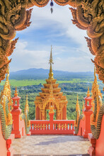 The Front Gate To Entrance Of Wat Phra That Doi Phra Chan One Of The Most Beautiful Buddhist Temple In Mae Tha District, Lampang, Thailand.