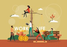 Work Life Balance Concept Vector Illustration. Scale With Work Sign On One Side And Life Symbol On Another Side. Business And Life Management