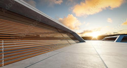 Fotografia Concrete floor and wooden wall building exterior