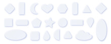 Paper Cut Set Of White Geometric Shapes Isolated On White Background. There Are Heart, Cloud, Circle, Moon, Square And Oval Elements, That Can Be Used For Decoration Of Banners, Cards.