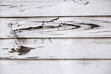 Exterior Of A House, Mural Composed Of Wooden Slats White.