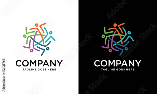 Fotografering Teamwork businessman unity and cooperation concept created with simple geometric elements as a people crew