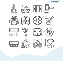 Simple Set Of Fan Related Lineal Icons.