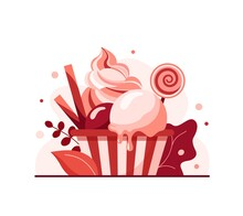Vector Illustration Of Strawberry Ice Cream In Paper Cup With Lollipop And Wafer Rolls, Pink Soft Served Sundae In Cardboard Tub Box For Cafe Takeaway, Vegan Yogurt Twisted Dessert In Packaging.
