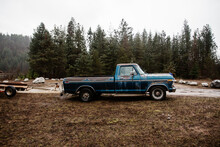 Old Truck Parked At A Boat Launch In North Idaho