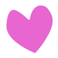 Vector Big Pink Heart. Love Sign Symbol. Cute Graphic Object. Flat Design Isolated. Simple Template, Decoration, Backdrop For Greeting Card, Invitation, Valentines Day